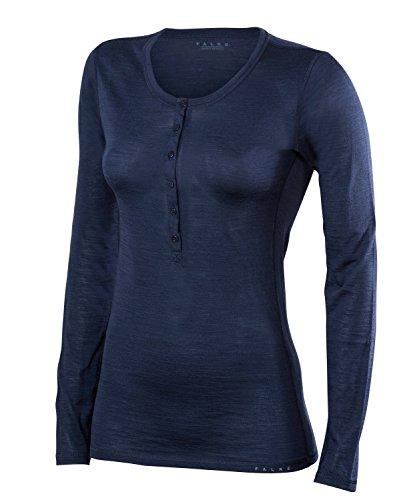 FALKE Damen, Langarmshirt Silk Wool Long Sleeve Merinowolle/Seide, 1 er Pack, Blau (Space Blue 6116), Größe: S