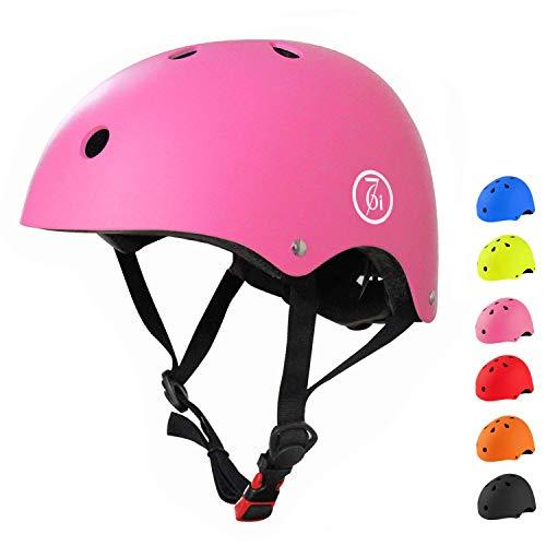 67i 自転車 ヘルメット 子供用 スケートボード アイススケート サイクリング 通学 スキー バイク 保護用ヘルメット 超軽量 サイズ調整可能 Sサイズ 48-54cm 護用ヘルメット(S, ピンク)
