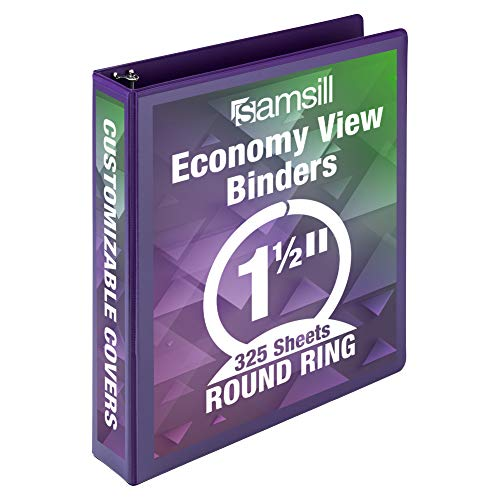 Samsill Economy 3 Ring Binder Organizer, Inch Round Ring Binder, Customizable Clear View Cover, Purple Binder