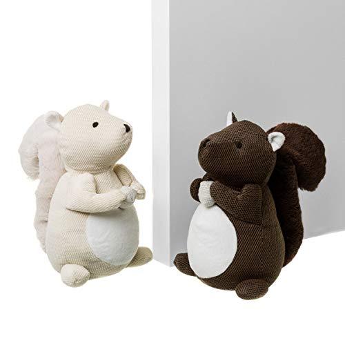 Fermaporta per scoiattolo, per bambini, colore: beige marrone, in tessuto, 25 cm (2 unità)