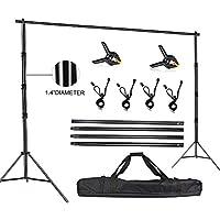FUDESY フォトビデオスタジオ 10 x 10フィート 高耐久 調節可能なバックドロップスタンド 写真撮影用バックグラウンドサポートシステム キャリーバッグ付き スプリングクランプ2個