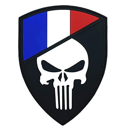 Frankreich Französisch Flagge Punisher Im Dunkeln Leuchten Cosplay Airsoft PVC Klett Emblem Abzeichen Patch
