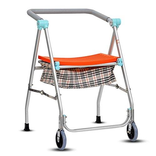 XZYZHL ayudas para Caminar, Cuatro Esquinas Walker con Asiento Muleta de Silla de Ruedas Walker Fuerte y cómodo