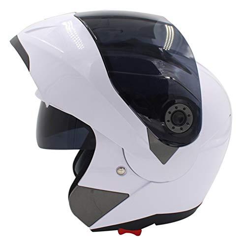 Hombres Mujeres Casco de Motocicleta de Rostro Completo, Forro de algodón Antifogging Flip Up Helmet, Four Seasons Respirable respiraderos Cascos de Motocross 53-61cm