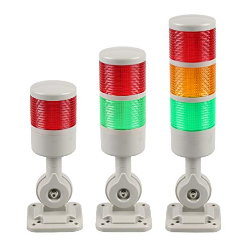 LUBAN Led Signal Tower Stack Lights, Industrial Signal Warning Lights, Column Tower Lamp Andon Lights with Rotatable Base, Steady/Flashing Light Switchable, 24V 12V DC (3-Level, no Buzzer)