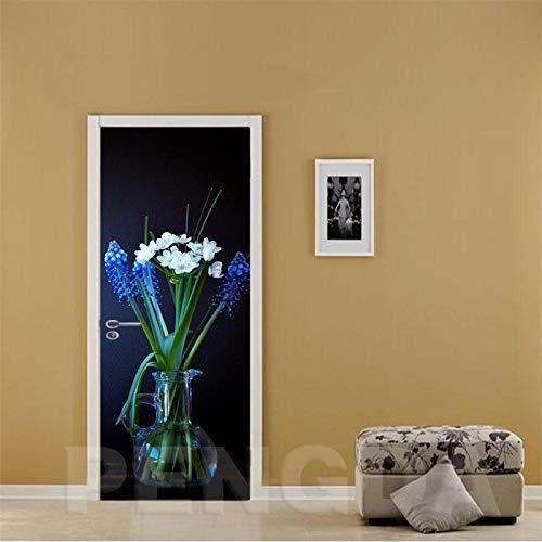 WZKED 3D Puerta Pegatina Pared Flores Azules Calcomanía De Vinilo Extraíble DIY Autoadhesiva Etiqueta De Puerta Murales para Cocina Sala De Baño Decorativos 77X200Cm