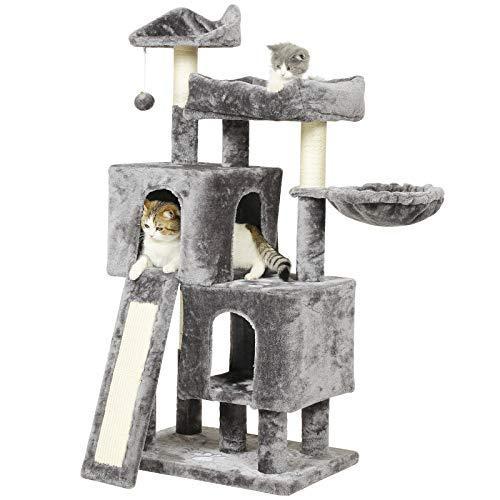 MSmask Kratzbaum mit großer Kratzbrett und 2 Plüschhöhlen Spielhaus, Kletterturm für Katzen 60 x 40 x 128cm, Stabiler Katzenbaum (Grau)