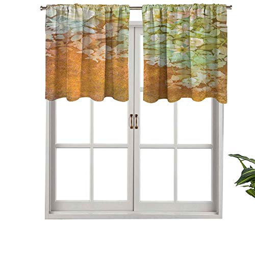 Hiiiman Extra Short Valance Thermal Insulated Window Curtains Flowers Leaves Vintage Painting on Blur Paper Background, Set of 1, 42'x18' Home Decorative Panels for Bathroom