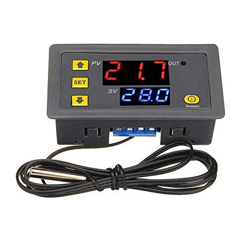 Calistouk W3230 DC 12V AC Controlador de temperatura digital Pantalla LED Termostato con sensor de control de calefacción y refrigeración