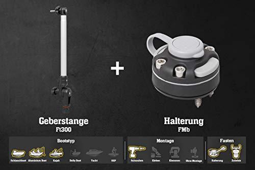 Fasten Set Geberstange (300mm) + Halterung [Runde Basis] für Holz, Alu & Gfk, Farbe:schwarz/alu-Silber