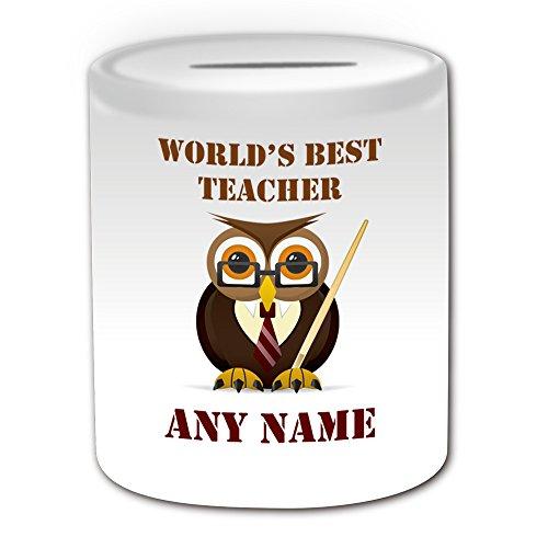 UNIGIFT Gepersonaliseerd geschenk - 's Werelds beste leraar/Uil met Pointer Money Box (Academic Design Theme, wit) - Naam/boodschap op uw unieke - Spaar Piggy Bank - School College University