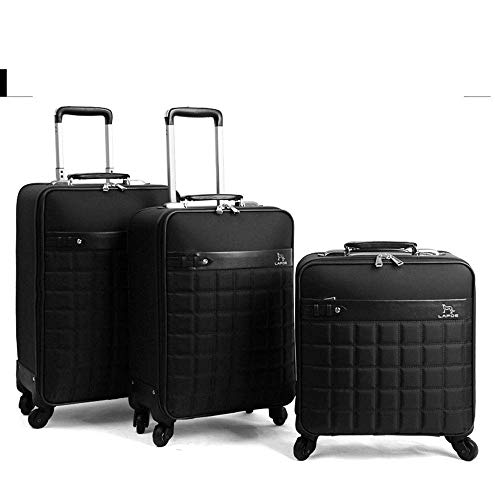 YOIL Travel Business Luggage SuitCases BAG Vintage Suitcase Wheels Travel Trolley Men Cabin Travel Women Leather Rolling Luggage (Color : Black, Size : 16inches)