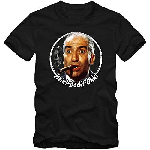 Shirt Happenz Louis de Funès Premium-Herrenshirt |Gendarm von Saint Tropez |Fantomas |Fanshirt |Tee, Farbe:Schwarz (Deep Black L190);Größe:L