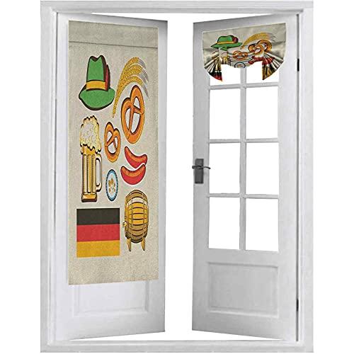 Panel de cortina de puerta francesa, Oktoberfest Symbols Trigo Salchicha Cerveza y Pretzels colorido arreglo bávaro, 2 paneles - 66 x 172 cm Cortinas opacas para puertas francesas, multicolor