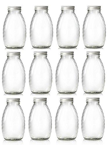 Nakpunar 12 pcs, 1 lb Glass Honey Bottles, Jars with Gold Lids