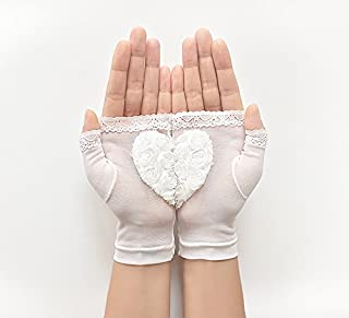 Bridal Gloves, Wedding Gloves, Heart Gloves, Lace Gloves, Wedding Accessories, Bride Gloves, Boho Wedding, Bridal Mitten