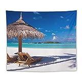 Manta Tapiz Para Colgar En Pared,Isla Caribe Luna de miel Temática Playa Costa Océano, Estera Picnic Decoración Sala Estar,50x60'