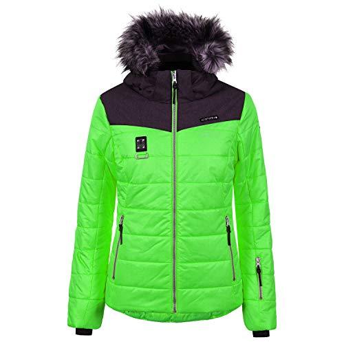 Icepeak Viroqua Ski Winterjas voor dames, groen en grijs