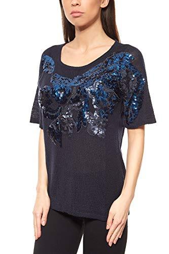 Ashley Brooke Top Paillettenshirt Damen Shirt Blau by Heine, Größenauswahl:36/38