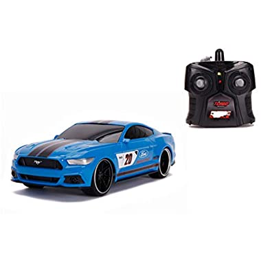 Jada Toys Bigtime Muscle 1:16 2015 Ford Mustang GT RC Remote Control Car 2.4 GHz Blue, Toys for Kids and Adults