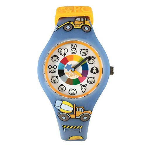 Trucks Preschool Watch - The Only Analog Kids Watch Preschoolers Understand! Quality Teaching time Silicone Watch with Glow-in-The-Dark Dial & Japan Movement