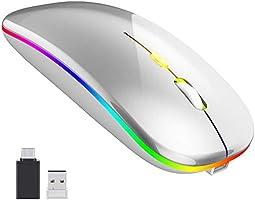【2020最新版 7色ライト】ワイヤレスマウス 無線マウス 静音 軽量 USB 充電式 超薄型 2.4GHz 3DPIモード 左右利き用 省エネルギー 高精度 持ち運び便利 type-C変換アダプタ付属...
