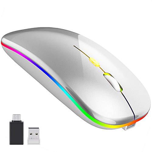 【2020最新版 7色ライト】ワイヤレスマウス 無線マウス 静音 軽量 USB 充電式 超薄型 2.4GHz 3DPIモード 左右利き用 省エネルギー 高精度 持ち運び便利 type-C変換アダプタ付属 Windows/Mac/surface/Microsoft (silver)