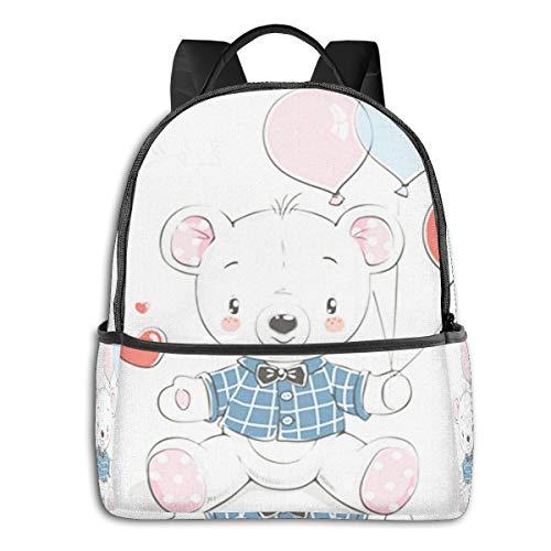 Rucksack Freizeit Damen Herren, Bärenballons Campus Kinderrucksack, Daypack Schulrucksack Sportrucksack Tablet Tasche 15,6 Zoll
