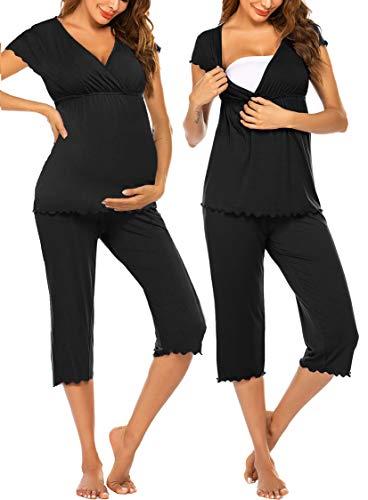Ekouaer Women Layered Maternity & Nursing Pajama...