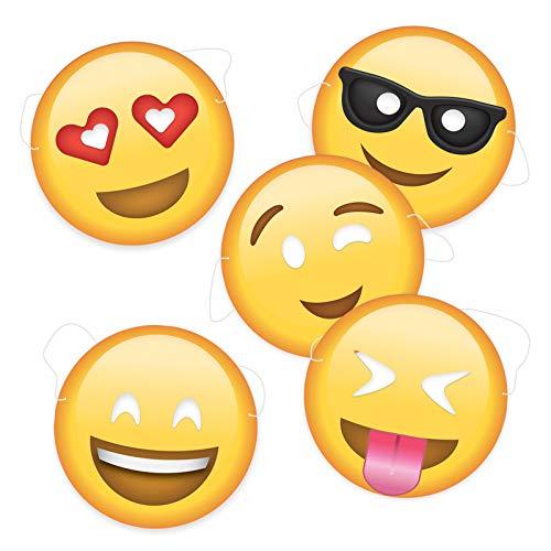 5er Set Emoji Partymasken | Party-Foto-Verkleidung | Foto Requisiten | Foto-Box | Photobooth | Geburtstagsfeirer | Geschenkidee | Abschlussfeier-Masken | Geburtstagsparty-Set | Preis am Stiel®