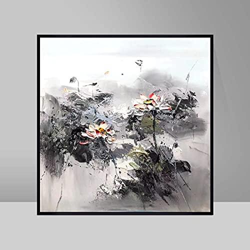 Gymqian Cuadro de Arte de Pared de Lienzo Póster e Impresiones Mural de Loto Abstracto Negro Blanco Gris Pintura de Arte Moderno Decoración de Pared para el hogar 90x90cm Sin Marco
