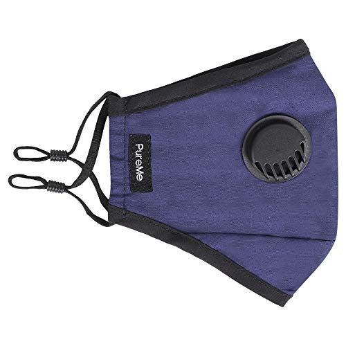 PureMe Reusable N95 Anti Pollution Mask with 4 Activated Carbon Filters- Dark Blue