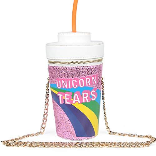 LUI SUI Fashion Crossbody Bag, Unicorn Tears Girls Cute Drink Cross Body Bag Chain Purse Clutch Bag for Girl (Purple)