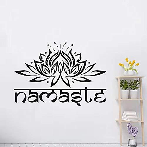 Etiqueta de la pared religiosa con letras de la India, vinilo, Lotus Yoga, Buda, flor, adhesivo para pared, adecuado para niñas, niños, niños