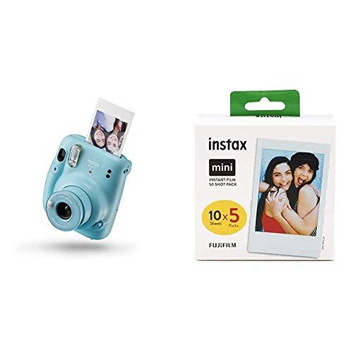 Instax Mini 11 Camera Sky Blue Fujifilm Instax Mini Instant Film 5X 10 Blatt 50 Blatt Weis