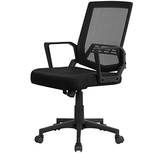 Yaheetech Black Desk Chair Ergonomic Office Chair Adjustable Swivel Fabric Mesh Chair with Comfy Lumbar Support and Armrest