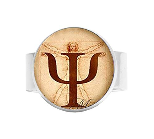 bab PSI Symbol Halskette, Psychologie-Anhänger, Schmuck, Geschenk für Psychologen, da Vinci, Foto, Bild, Anatomie, Verstellbarer Ring, Bibel-Zitat