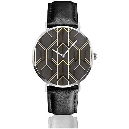 Abstrakte Art Deco Nahtlose Moderne Fliesen Muster Edelstahl Lederband Uhren Armbanduhren