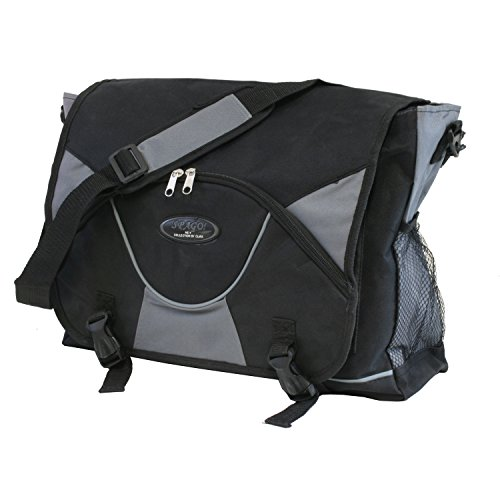 Collegetasche schwarz/grau Messenger Überschlagtasche