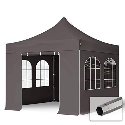 TOOLPORT Faltzelt Partyzelt 3x3m - mit 4 Seitenteilen Premium Dach 100% WASSERDICHT Faltpavillon Pavillon dunkelgrau