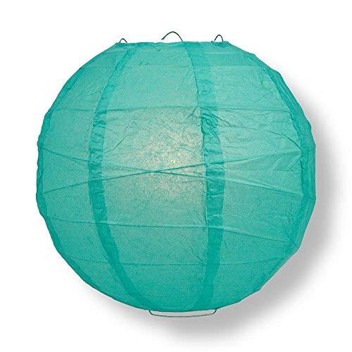 "Quasimoon PaperLanternStore.com 16"" Teal Green Round Paper Lantern, Crisscross Ribbing, Hanging Decoration"