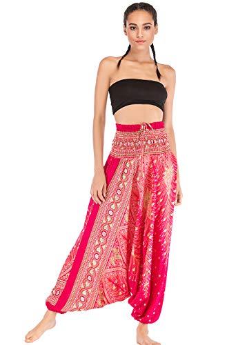 Feoya Unisex Haremshose Damen Herren Sommer Sport Indianer Orientalischer Tanz Yoga Hose Fluide Damen Ethno-Print Große Sommerhose Leicht elastisch Gr. One size , E-1