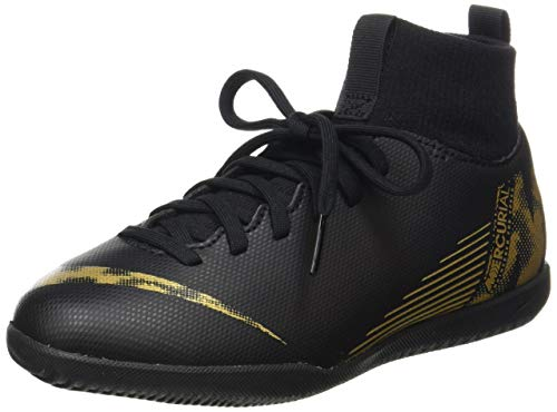 Nike Unisex-Kinder Superflyx 6 Club IC Fußballschuhe, Schwarz (Black/MTLC Vivid Gold 077), 35 EU