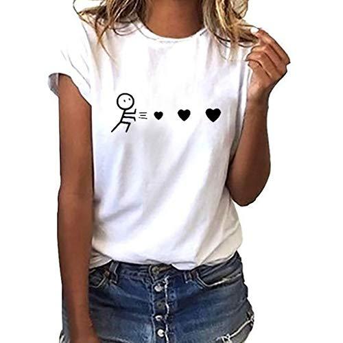Camiseta de Mujer Manga Corta riou Mujeres Elegantes Blusas Verano con Estampado De Corazones Tops Casuales Original Fiesta T-Shirt Cuello Redondo Basica Camisa