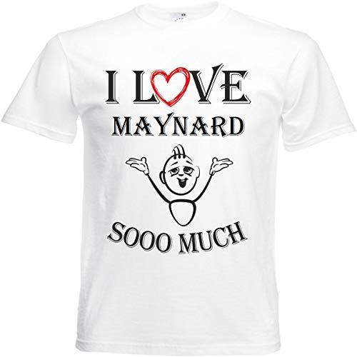Camiseta I Love Maynard para mujer, hombre y niños en color blanco. Blanco S
