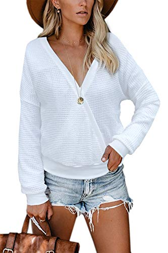 Albe Rita Womens Deep V Neck Wrap Sweaters Long Sleeve Waffle Knit Tops Shirts Pullover, White, M