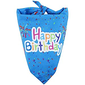 Gimane Happy Birthday Dog Bandana, Pet Triangle Scarf Double Layer Bandanas Dog Accessories for Cute Doggy Birthday Party Suitable for Small, Medium, Large Dogs