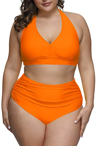 Pink Queen Women's Plus Size 2 Piece Bikini Set High Waisted Pool Bathing Suits Swimsuits Orange XL
