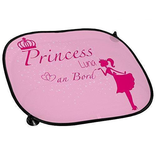 Auto-Sonnenschutz mit Namen Luna und süßem Prinzessin-Motiv für Mädchen - Auto-Blendschutz - Sonnenblende - Sichtschutz