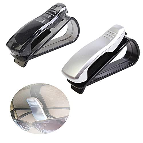 2 Pcs Soporte para Gafas De Sol para Parasol De Coche Clips para Gafas De Coche Soporte De Gafas para Coche Sol Visera Clip Soporte Universal para Gafas De Coche Visera para Gafas De Coche, Plata
